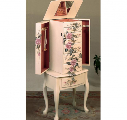 Traditional Off White 7 Drawer Jewelry Armoire by Coaster