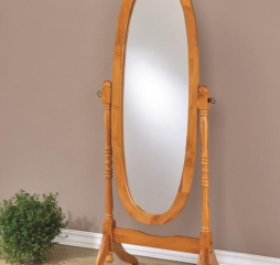 Traditional Honey Oval Cheval Mirror by Coaster