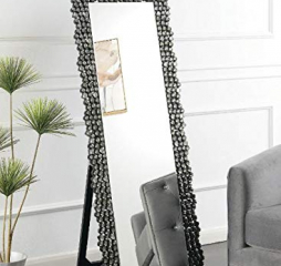 Silver and Smokey Gray Cheval Floor Mirror w/ Textural Frame by Coaster