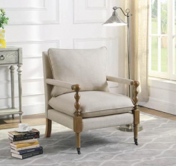 Upholstered Linen Line Accent Chair by Coaster