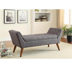 Gray and Brown Flared Arm Bench by Coaster