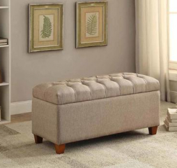 Taupe Tufted Storage Bench by Coaster