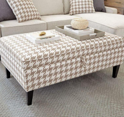 Beige and White Montgomery Upholstered Storage Ottoman by Coaster