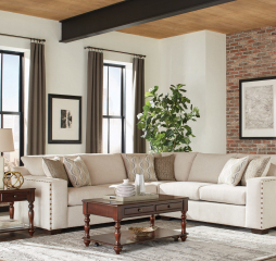 Aria L Shaped Sectional w/ Nailheads by Coaster