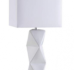 White Geometric Ceramic Base Table Lamp by Coaster