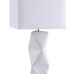 White Geometric Ceramic Base Table Lamp by Coaster