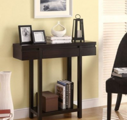 Contemporary Cappuccino One Drawer Rectangular Console Table by Coaster