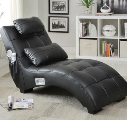Accent Seating Modern Black Chaise by Coaster