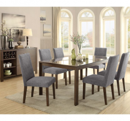 Fielding Dining Table w/ Black Glass Insert by Homelegance