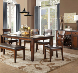 Mantello 60″ Dining Table w/ 18″ Leaf by Homelegance