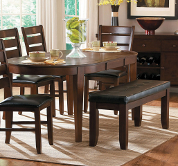Ameillia 58″ Oval Dining Table w/ 18″ Leaf by Homelegance