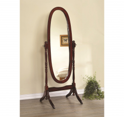 Traditional Warm Brown Merlot Oval Cheval Floor Mirror by Coaster