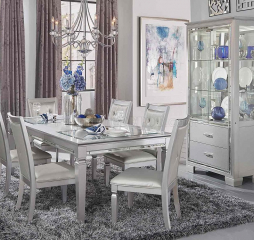 Allura Dining Table w/ Glass Insert and LED Lighting by Homelegance