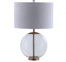White Drum Shade Table Lamp w/ Glass Base by Coaster