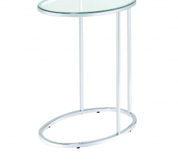 Contemporary Clear Glass and Chrome Oval Snack Table by Coaster