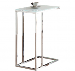 Transitional Chrome and White Glass Top Accent Snack Table by Coaster