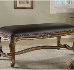 Brown and Black Upholstered Faux Leather Accent Bench by Coaster