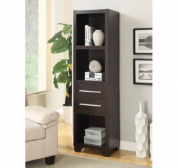 Casual Cappuccino Media Tower Bookcase by Coaster