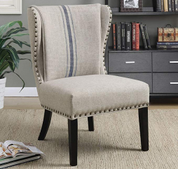 Traditional Gray and Blue Accent Chair by Coaster