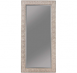 Transitional Silver Sparkle Mosaic Rectangular Floor Mirror by Coaster