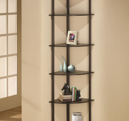 Casual Rubberwood Cappuccino Corner Bookcase by Coaster