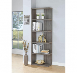 Contemporary Weathered Gray Five Shelf Bookcase by Coaster