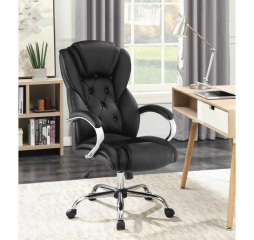Black and Chrome Swivel Office Chair by Coaster