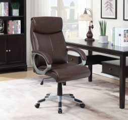 Upholstered Brown and Silver Office Chair by Coaster