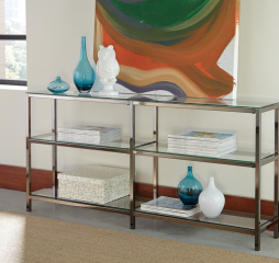 Contemporary Black Nickel Two Tier Console Double Bookcase by Coaster
