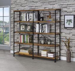 Barritt Industrial Antique Nutmeg Double Wide Bookcase by Coaster