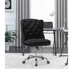 Contemporary Modern Black Velvet Office Chair by Coaster
