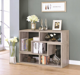 Contemporary Gray Driftwood Convertible TV Console and Bookcase by Coaster