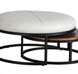 Carson Metal Black Leather Nesting Ottoman by Jonathan Louis