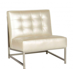 Moore Leather Metal Accent Chair by Jonathan Louis