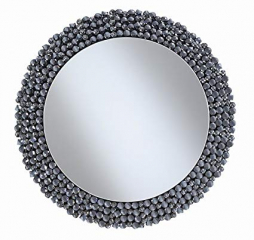Gray Contemporary Round Wall Mirror w/ Textual Frame by Coaster