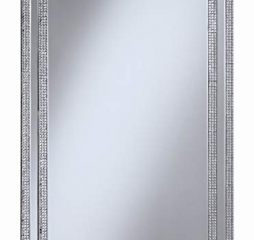 Silver Rectangular Wall Mirror w/ Jeweled Frame by Coaster