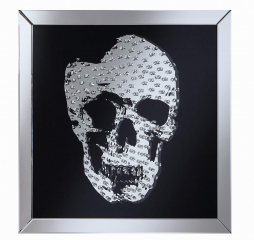 Contemporary Black Wall Mirror w/ Jeweled Skull by Coaster