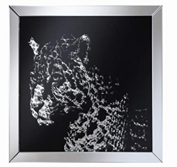 Contemporary Black Square Leopard Wall Mirror by Coaster