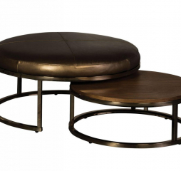 Champagne Brass Nesting Leather Ottoman by Jonathan Louis