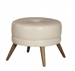 Bibi Round Leather Footstool by Jonathan Louis