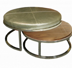 Brushed Nickel Nesting Cocktail Ottoman by Jonathan Louis