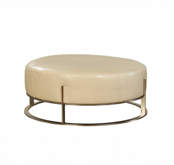 Astro Brushed Nickel Leather Ottoman by Jonathan Louis