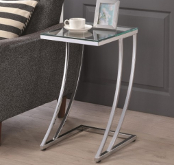 Modern Chrome and Clear Rectangular Top Accent Table by Coaster