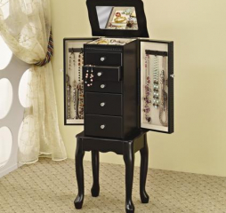 Traditional Queen Anne Black Four Drawer Jewelry Armoire by Coaster