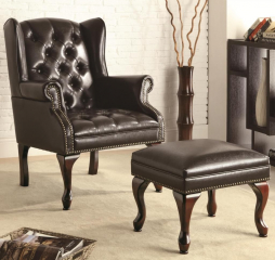 Traditional Espresso Chair and Ottoman by Coaster