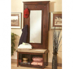 Transitional Raw Umber and Tan Hall Tree w/ Mirror by Coaster