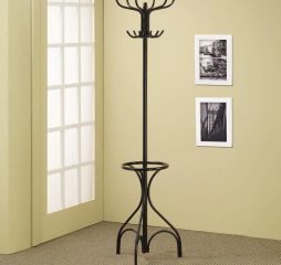 Traditional Black Coat Rack w/ 12 Hooks by Coaster