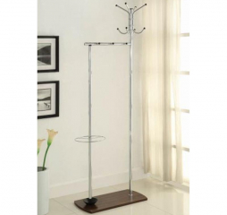 Chrome and Walnut Coat Rack w/ Umbrella Stand by Coaster