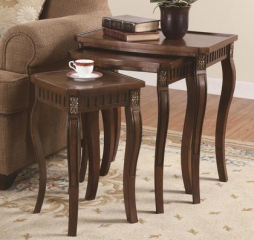 Traditional Warm Brown Three Piece Nesting Table w/ Curved Legs by Coaster