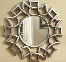 Transitional Silver Starburst Round Wall Mirror by Coaster